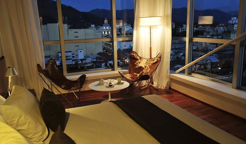 The minimalist, modern style of the Design Suites Hotel in the historic quarter of Salta.