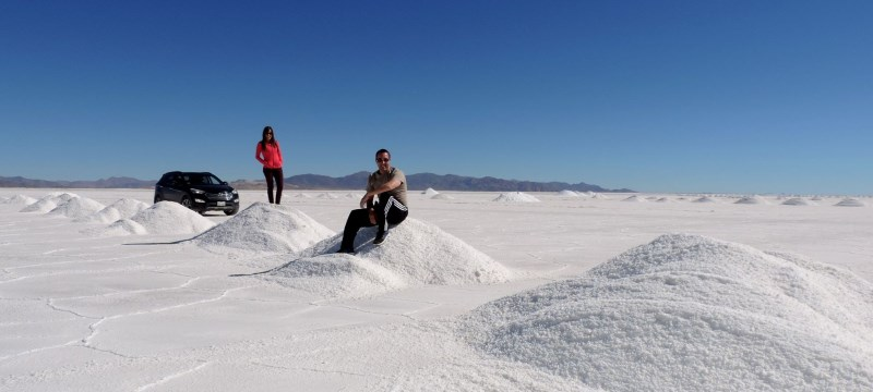 A tour to Salinas Grandes is a great chance to be alone on huge salt flats at high altitude.